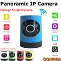 2016 Plug and play Câmera IP wi-fi Interior 720 P Mini Sem Fio onvif fisheye lente de Vigilância panorâmica Câmera do telefone remoto vista