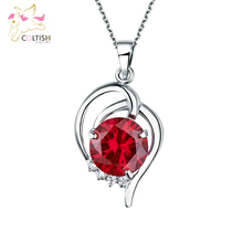 Ruby stone Pendant w/white Gem stone Necklace with adjustable chain Titanium Steel  Triple Layers Platinum Non fade