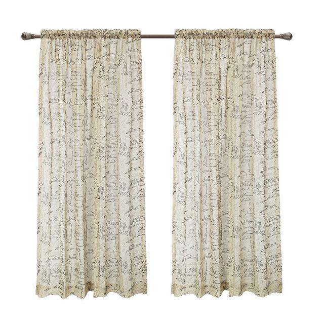 Calitime Window Curtains Panels 50 X 63 French Script Faux Linen