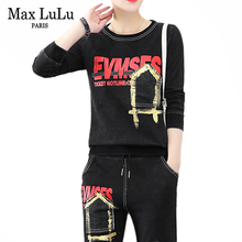 Max LuLu 2019 moda avrupa giysileri sonbahar bayanlar Vintage üstler ve pantolonlar kadın iki parçalı setleri spor eşofman kulübü kıyafetleri