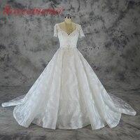 С коротким рукавом Кружева Дизайн Свадебные платья 2017 винтажные Свадебные платья перо Форма кружева вырезать свадебное платье на заказ зав