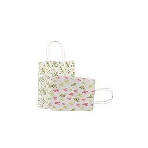Image 5 - 50ピース/ロットスウィートフラワープリントクラフト紙バッグフェスティバルギフトバッグ紙袋ハンドルと子供ギフトバッグ18x15x8cm