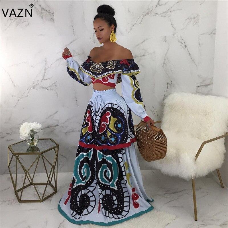 6798853ca70 VAZN 2019 Новое поступление сексуальное платье с длинным рукавом и вырезом  лодочкой женское платье с принтом