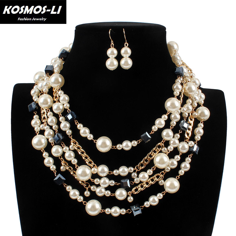Europe And America Trendy Luxury Exaggeration Necklace Earring Jewelry Sets For Women Party Pearl Statement Necklaces