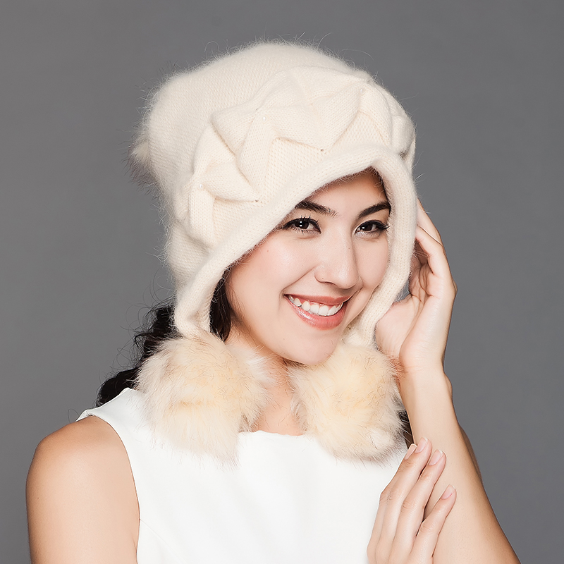 Fashion Autumn Winter Wool Knitted Hat For Women With Pom Pom Keep Warm Thicken Rabbit Hair Blend Casual Skullies Beanies D306 princess hat skullies new winter warm hat wool leather hat rabbit hair hat fashion cap fpc018