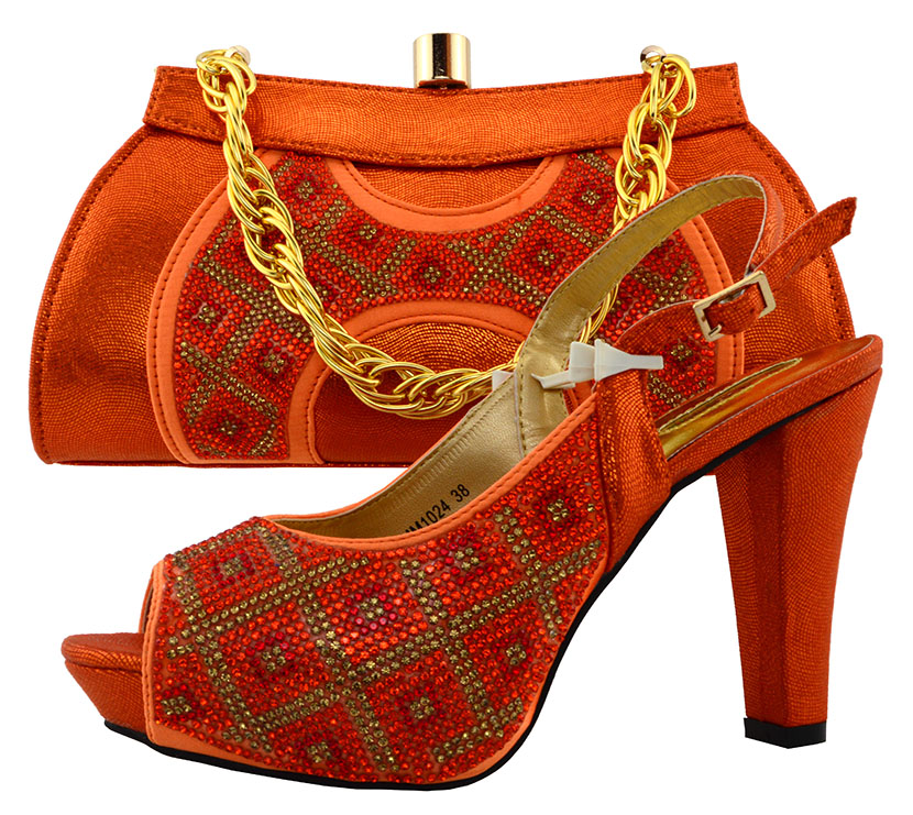 ФОТО Top Quality Italian Orange Shoe With Matching Bag Set With Applique And Diamonds For Wedding African women shoe and bag MM1024