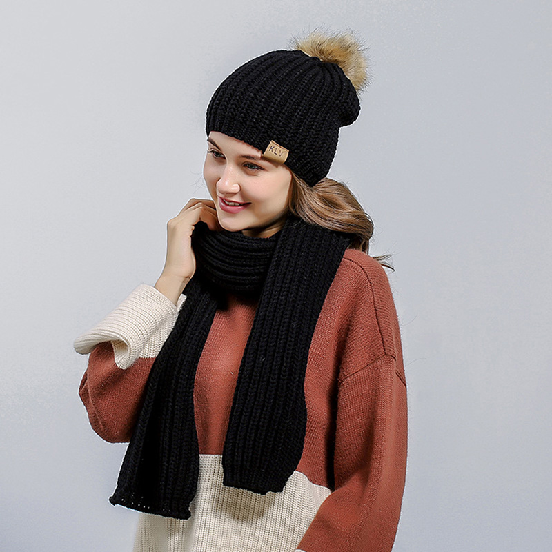 New Autumn Winter 2019 Women Hat Scarf Sets Fashion Knitted Fur Pompom Hat Thick Cotton Warm Beanies Female Long Scarves