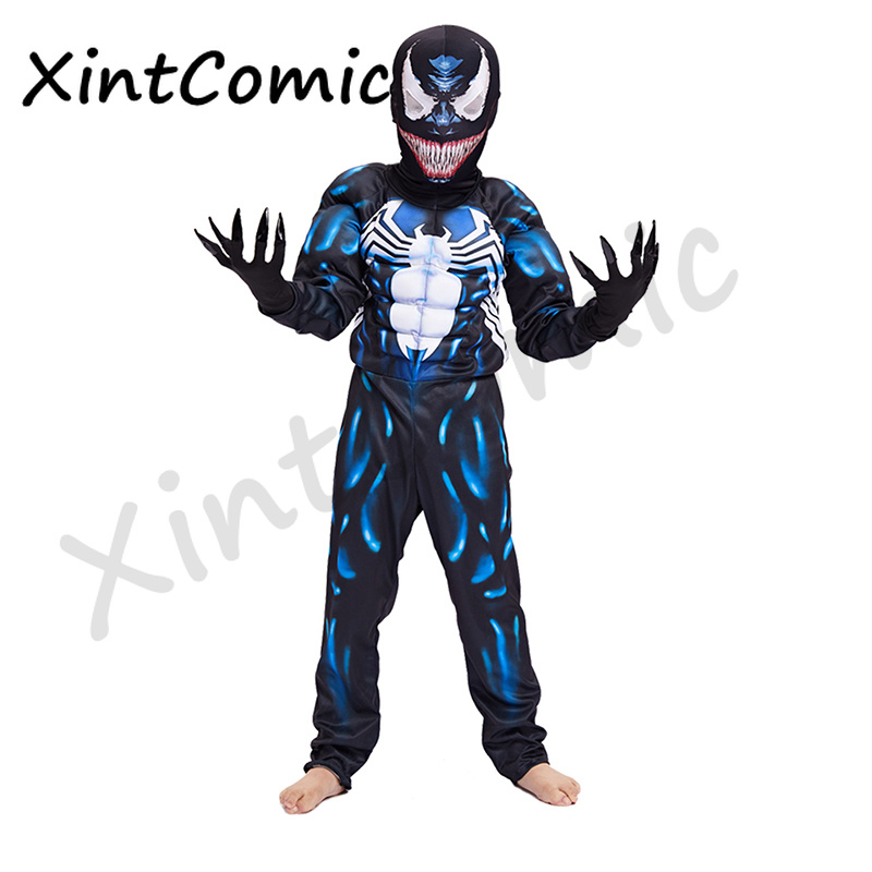 High Quality Venom Spiderman Muscle Cosplay Costume Marvel Superhero Movie Venom Costume Kids Boys Halloween Costume For Kids