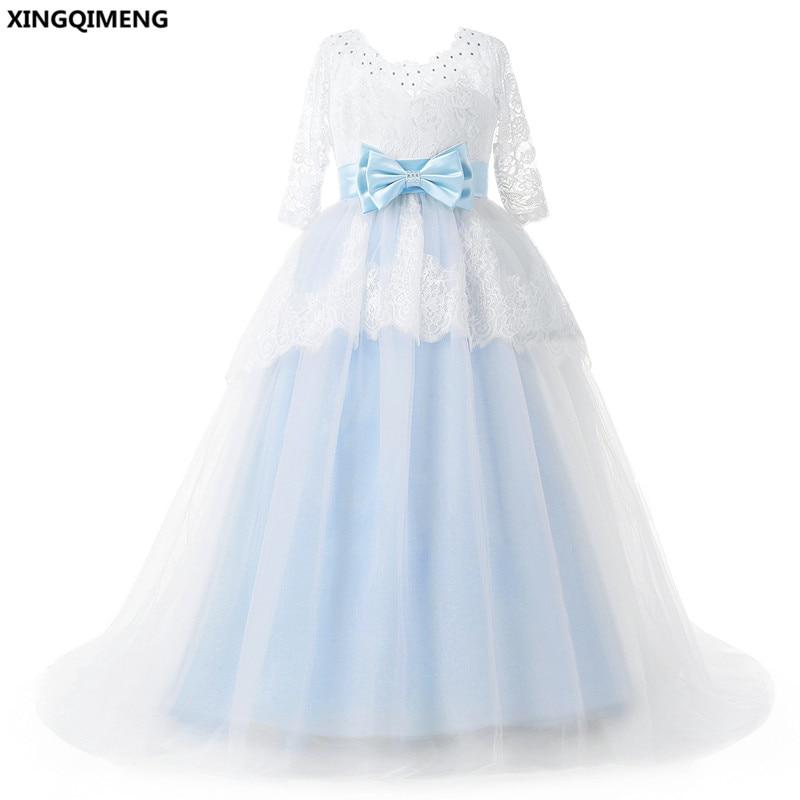 En Stock Light Sky Blue Bow vestidos de niña de flores de encaje de - Vestidos de fiesta de boda