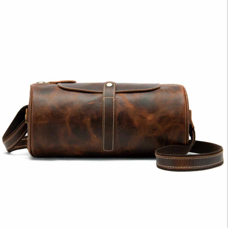 PNDME simple de hombres de cuero de Caballo Loco bolso de hombro retro cilindro mensajero bolsa los hombres casual bolso de cuero genuino