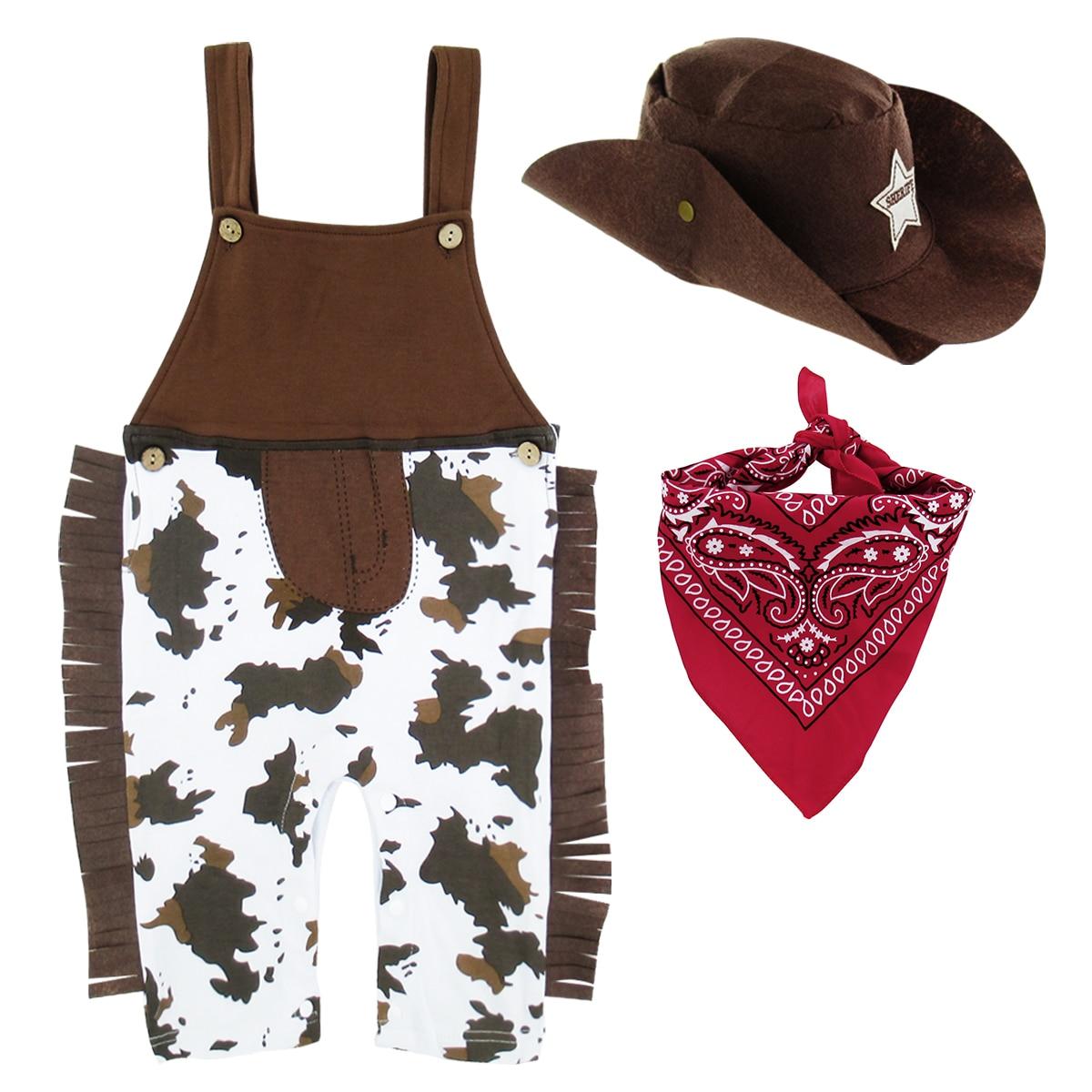 Baby Boy Clothes Kids Toddler Cowboy Hat+Bodysuit+Scarf Romper Outfit Suit 3-18M