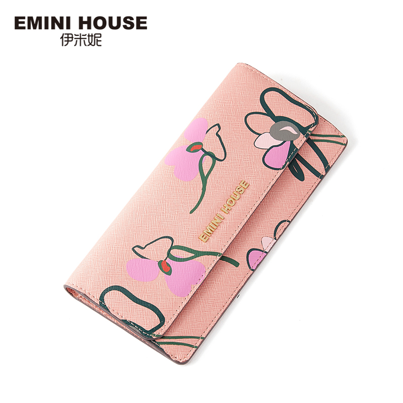EMINI HOUSE Floral Print Women Long Wallet Split Leather Women Wallets Zipper & Hasp Folding Wallet Lady Purse Coin Purse