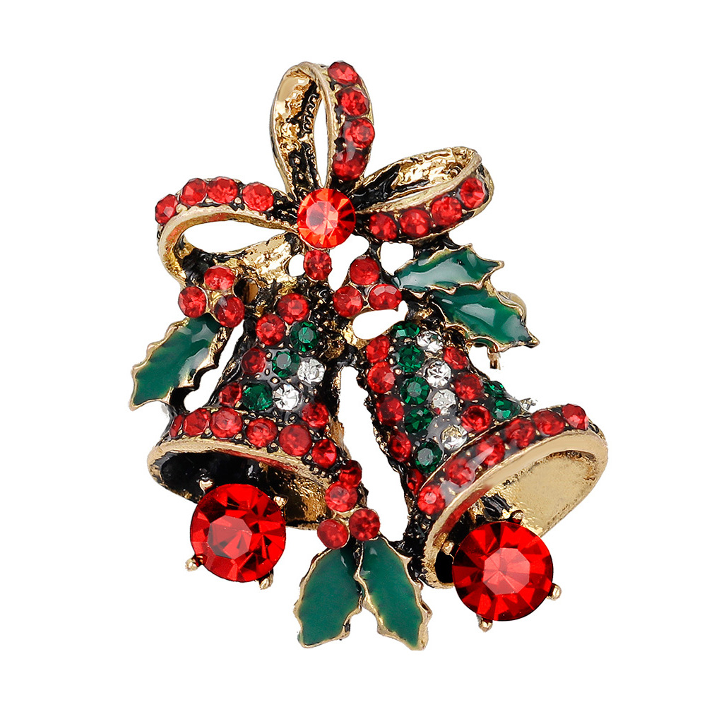 Multicolor New Crystal Double Bells Fashion Christmas Bows Sleigh Bells Brooches Christmas Gifts Christmas Brooches For Women Refreshment Rings
