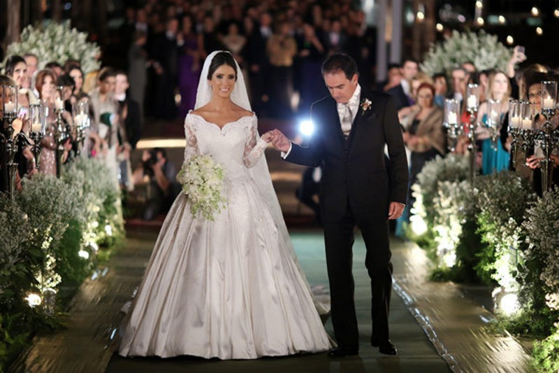 A Line Wedding Gown With Sleeves: Great Design Brazilian A Line Bride Dresses V Neck Sheer