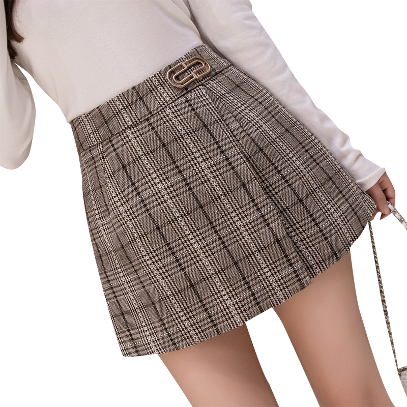 Autumn winter woolen   short   pants high waist plaid korean   shorts   skirts slim a line wide leg outwear fashion booty   shorts   women