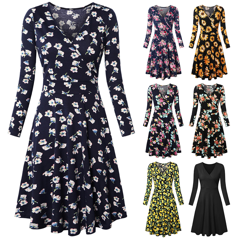 Mid Length Beach Fashion Long Sleeve Holiday Summer Casual Floral Printed Soft Breathable V Neck Cotton Blend Women Dress Slim 5 in Dresses from Women 39 s Clothing