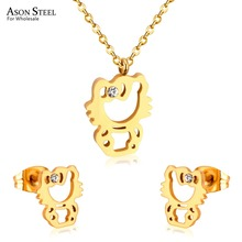 Hello Kitty Pendant ALP ASONSTEEL Hot Stainless Steel Gold/Silver Hello Kitty Pendants Necklaces  Earring Sets For Women/
