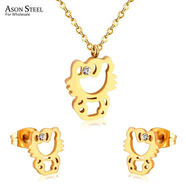 Hello Kitty Pendant ALP ASONSTEEL Hot Stainless Steel Gold/Silver Hello Kitty Pendants Necklaces  Earring Sets For Women/Girl Jewelry Gift Cute Fashion