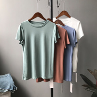 Summer Women Basic T Shirt Green Orange White Blue Vintage Short Sleeve Tee And Tops