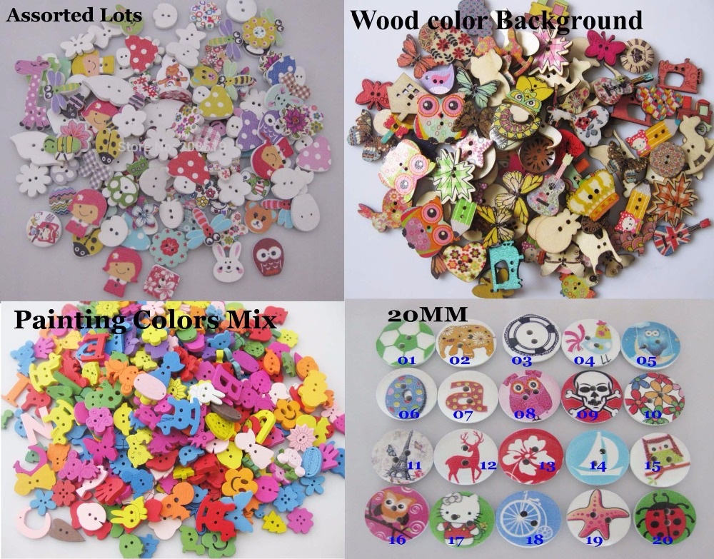 Assorted Mix 100pcs white background Print Wooden Two Hole buttons Embleshment Craft Scrapbook Sewing accessories
