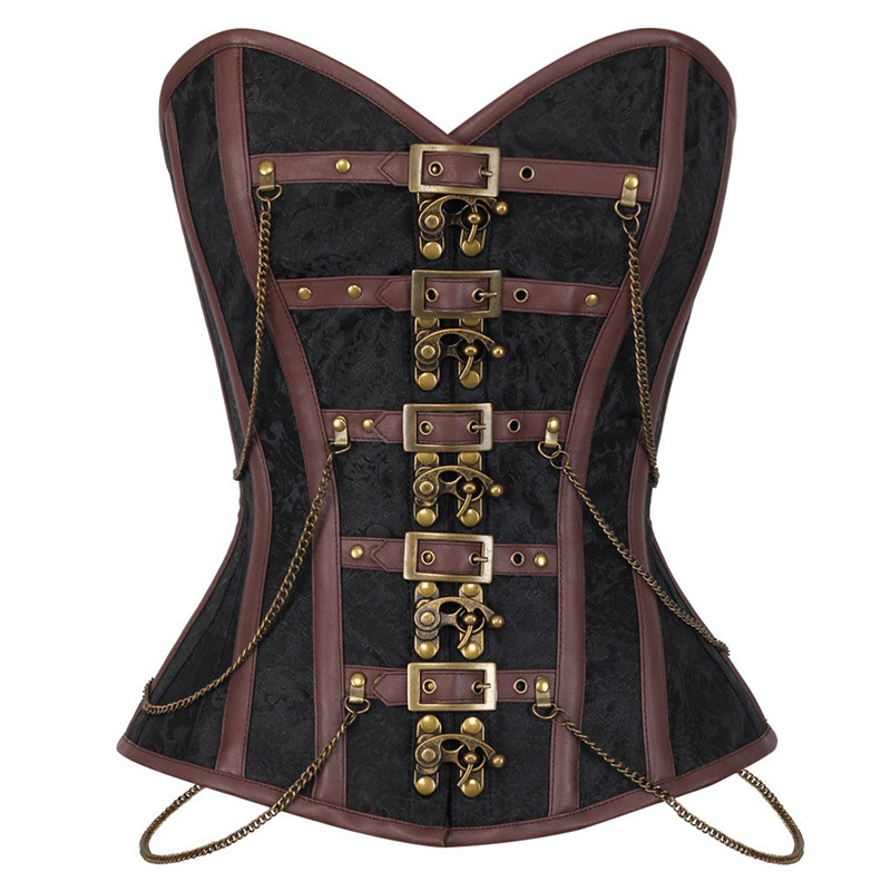 Women's Vintage Gothic Steampunk Overbust Corset Sexy Steel Boned Corsets and Bustiers with Chains Waist Cincher Bustier Femme