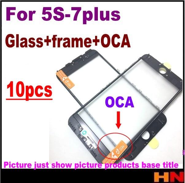 imágenes para 10 unids exterior de cristal con marco medio bisel + oca juntos para iphone 5S 6 6 s 7 7G/7 plus Lente de Cristal Frontal con marco
