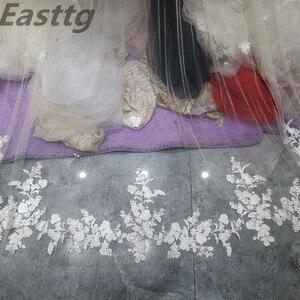 Image 5 - Voile de mariée blanche ivoire, 4 mètres, Long, bord en dentelle avec peigne, accessoires de mariage, voile de mariée blanche