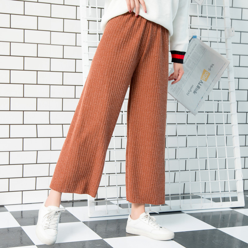 New   Wide     leg     pants   stripe version the wild nine   pants   loose   wide     leg     pants   female Autumn and winter thickening high waist   pants