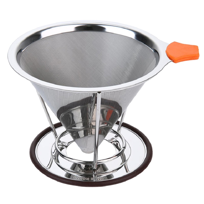 Reusable Washable Coffee Filter Manual Stainless Steel Mesh Portable Drip Holder