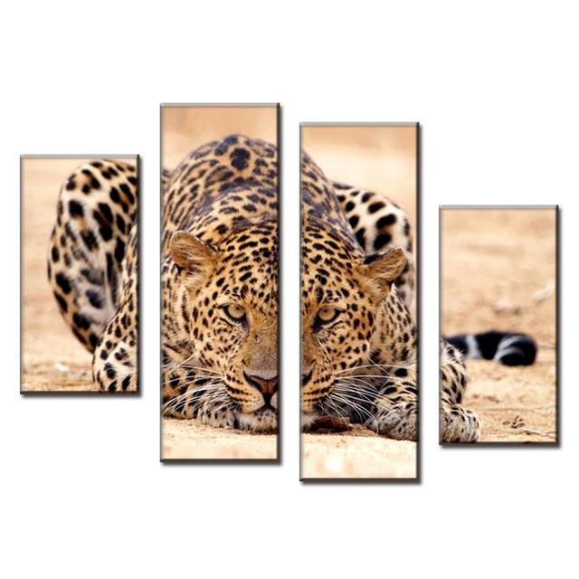 Animal Wall Art aliexpress : buy 4 pcs/set excellent large canvas paintings