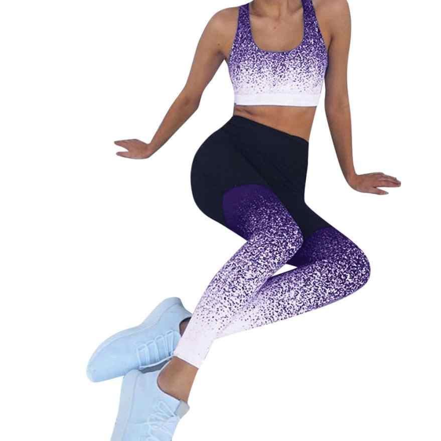 2a3e5f42076d7 KLV yoga pants Women's gradient yoga tight trousers Sports Workout High  Waist Running Pant Fitness Elastic