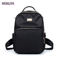 NADALIYA NEW 2017 Preppy Style Lozenge Backpacks Women Nylon Shoulder Bags Student Bag Black Backpack Mochilas Escolar Feminina