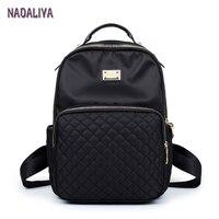 NADALIYA NEW 2017 Preppy Style Lozenge Backpacks Women Nylon Shoulder Bags Student Bag Black Backpack Mochilas