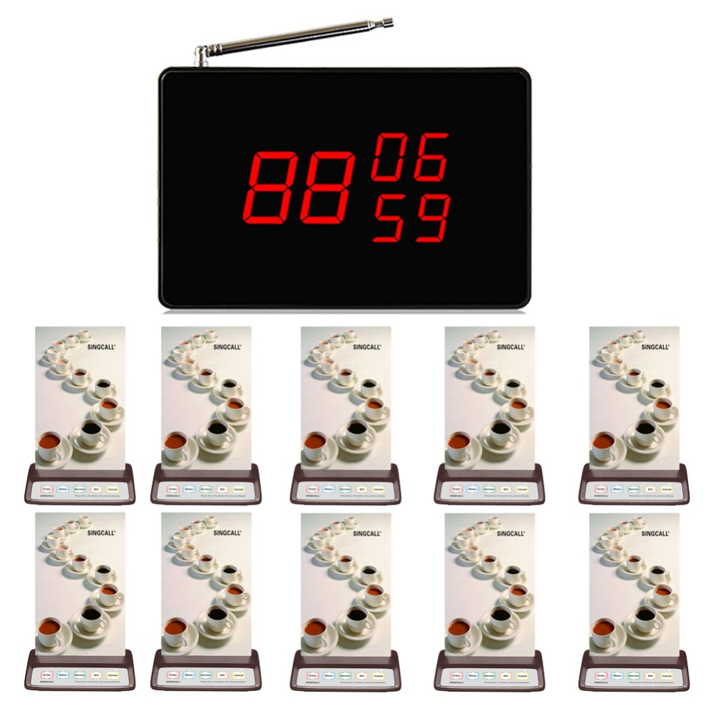 SINGCALL wireless emergency call system,  Waiter Service Calling 10 pcs restaurant pager, 1 pcs call receiver 433 92mhz wireless restaurant guest service calling system 5pcs call button 1 watch receiver waiter pager f3229a
