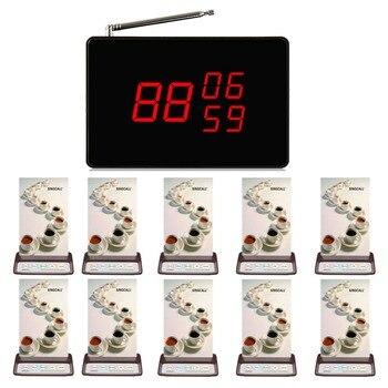 Singcall Wireless sistema de llamada de emergencia, llamada del servicio del camarero 10 unids restaurante pager, 1 unids llamada receptor