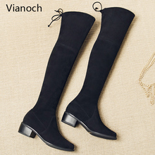 Vianoch New Fashion Womens Boots Knee Length Strechy Fabric Flats Shoes Block Heel Lady wo1808150