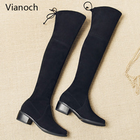 Vianoch New Fashion Womens Boots Knee Length Strechy Fabric Flats Shoes Block Heel Shoes Lady wo1808150