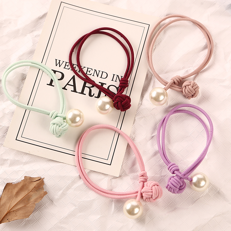 2018 Hot Sale New Fashion Pearl Elastic Rubber Bands   Headwear   Women Girl Ponytail Holder Hair Rope Scrunchy Hair Accessories