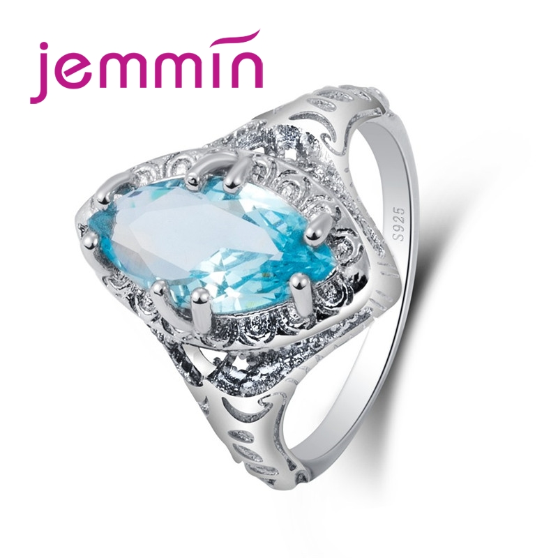 Jemmin Trendy Fine Quality Blue CZ Stone Hot Sale Princess Ring 925 Sterling Silver Ring Big Crystal Ring for Women Wedding RingJemmin Trendy Fine Quality Blue CZ Stone Hot Sale Princess Ring 925 Sterling Silver Ring Big Crystal Ring for Women Wedding Ring