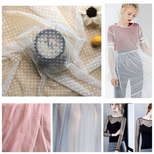 2 meters White Black Elastic Mesh Fabric Spot Dot Net Fabric Dress Wedding backdrop Garment bottoming shirt fabric textiles cheap Knitted Other Fabric Spandex Nylon Embroidered 1 4 meters Stretch Fabric