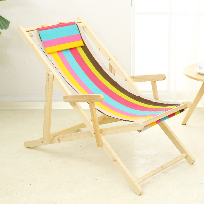 Fine Us 191 7 30 Off Simple Foldable Portable Beach Chair Solid Canvas Oak Wooden Lounge Chair Soft Leisure Reclining Chair Sunbathe Cadeira In Beach Gmtry Best Dining Table And Chair Ideas Images Gmtryco
