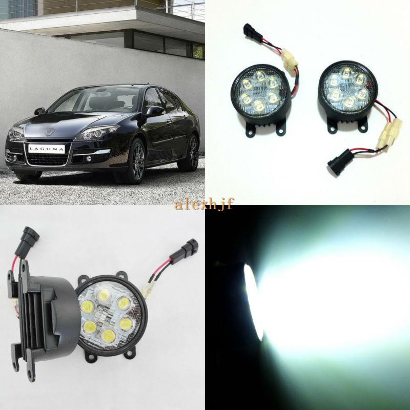 July King 18W 6LEDs H11 LED Fog Lamp Assembly Case for Renault Laguna 2005~2011 etc, 6500K 1260LM Daytime Running Lights for opel astra h gtc 2005 15 h11 wiring harness sockets wire connector switch 2 fog lights drl front bumper 5d lens led lamp