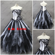 free shipping 2013 new design hot seller long bandage dress barbie clothes Sexy Black White Tulle ball gown appliques Prom Dress