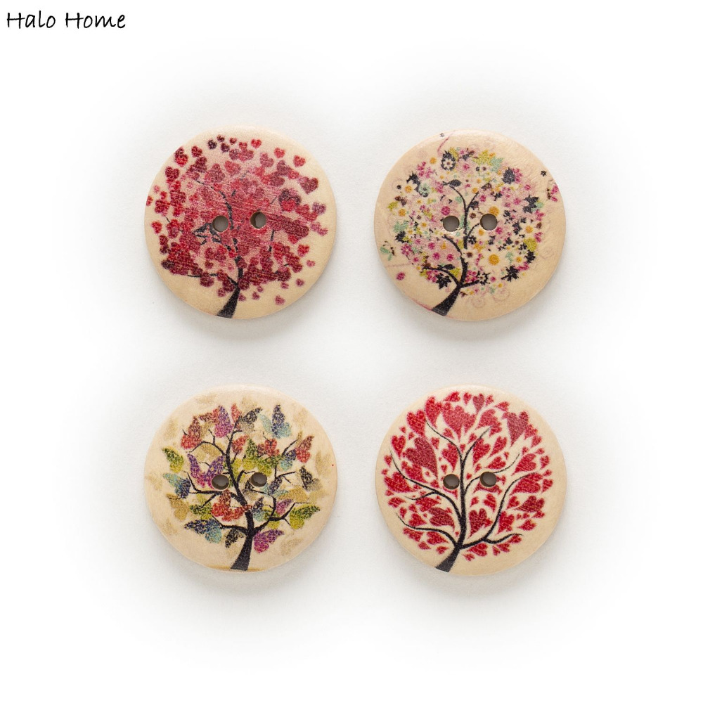 20pcs 2 Hole Mixed Round Wood <font><b>Buttons</b></font> Sewing Scrapbooking Home Decor Clothing Crafts <font><b>30mm</b></font> image