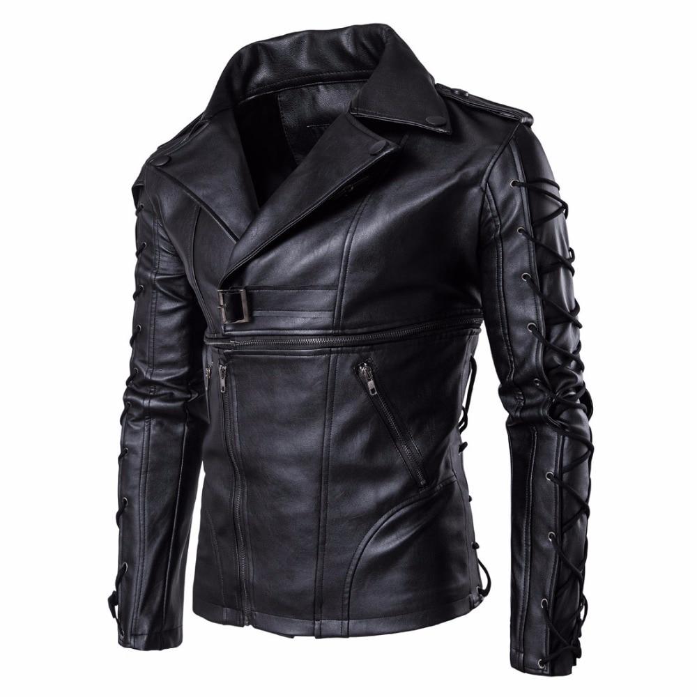 Brand New Autumn Winter mens motorcycle leather jacket fashion large size leather Locomotive Multi-zipper Jacket clothing male