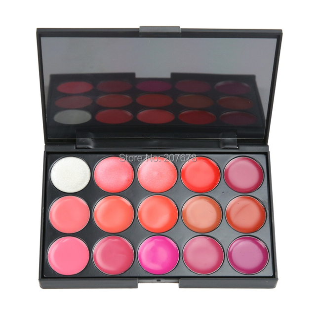 Professional Cosmetic 15 Color Gorgeous Lipsticks Lip Gloss Makeup Palette