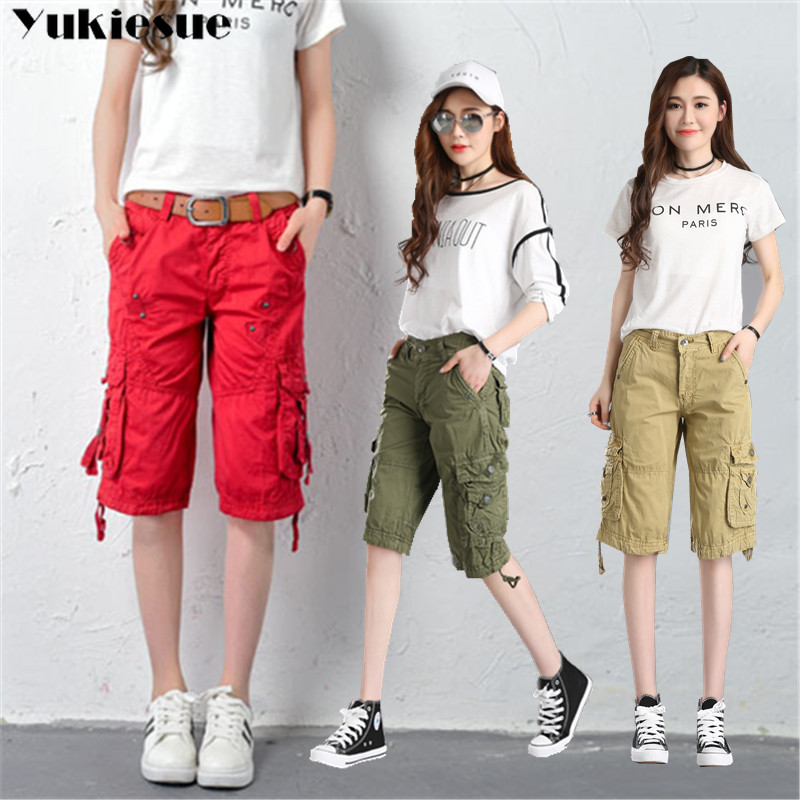 Women High Waist Blue Cargo   Pants     capri   Fashion Loose Pockets   Pants   Womens Streetwear Patchwork Pencil Sweat   Pants   Bottom female
