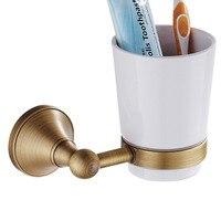 Leyden Antique Brass Toothbrush Holder Vintage Wall Storage Round Wall mounted Toothpaste Organizer Bathroom Hardware Accessory