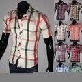 Veludo de algodão Casual abrir ponto Real camisa xadrez masculina de manga curta fino