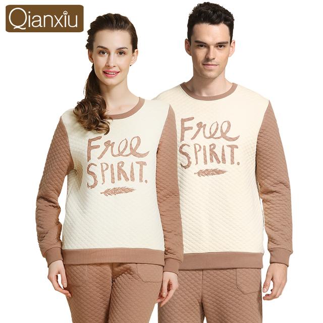 Marca Parejas Pajamas Set Invierno Cálido Algodón de Los Hombres de Las Mujeres ropa de Noche Salón Pullover Tops y Bottoms Ropa Interior Térmica Mujer Hombre